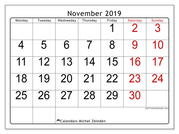 November 2019 Calendar, 62MS. Calendar to print free.