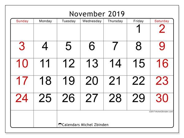 November 2019 Calendar, 62SS. Calendar for the month to print free.