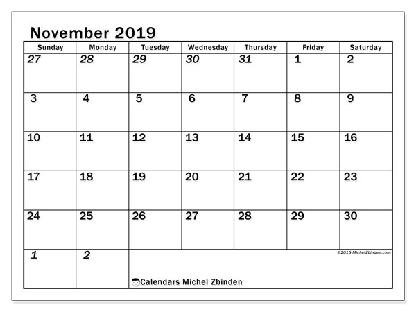 November 2019 Calendar, 66SS. Free printable monthly calendar.