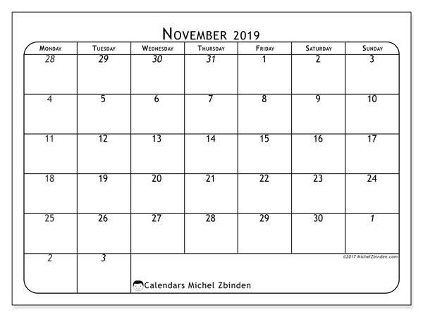 November 2019 Calendar, 67MS. Calendar for the month to print free.