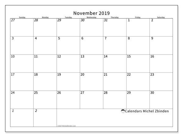 November 2019 Calendar, 70SS. Monthly planner to print free.
