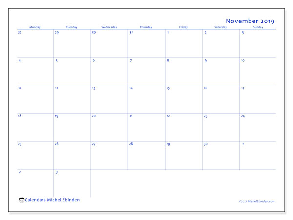 November 2019 Calendar, 73MS. Calendar for the month to print free.