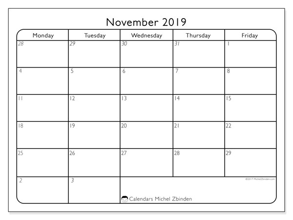 November 2019 Calendar, 74MS. Free printable monthly calendar.