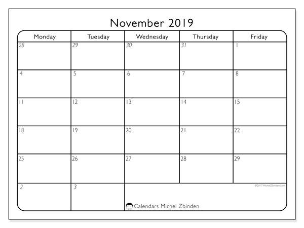 November 2019 Calendar, 74SS. Free bullet journal to print.