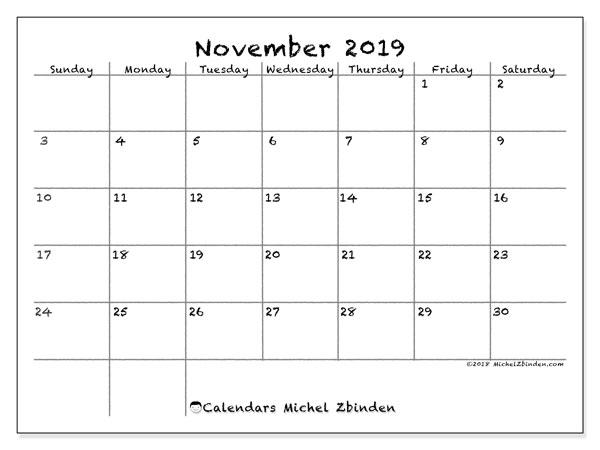 November 2019 Calendar, 77SS. Monthly calendar to print free.