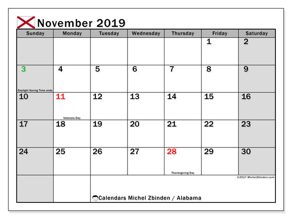 November 2019 Calendar, with the holidays of Alabama. Free printable calendar with public holidays.