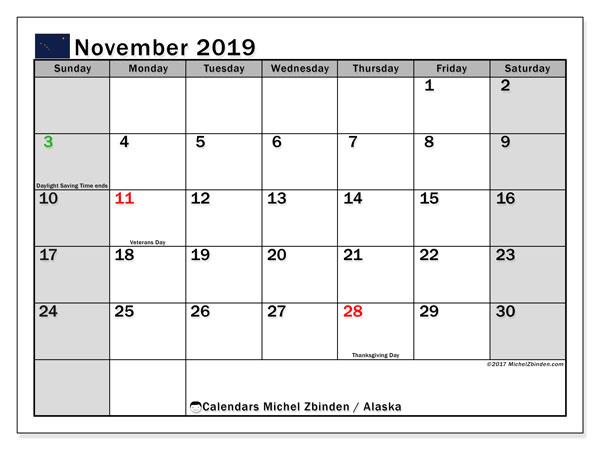 November 2019 Calendar, with the holidays of Alaska. Holidays calendar to print free.