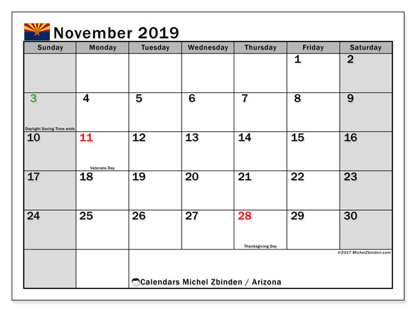 November 2019 Calendar, with the holidays of Arizona. Free printable calendar with public holidays.