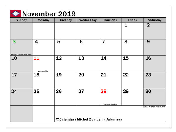 November 2019 Calendar, with the holidays of Arkansas. Free printable calendar with public holidays.