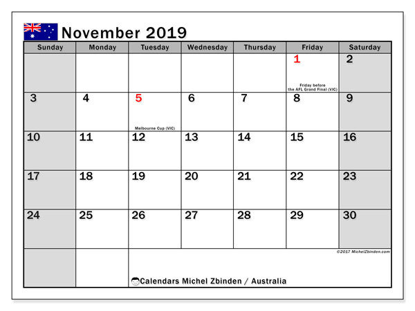 November 2019 Calendar, with the holidays of Australia. Free printable calendar with public holidays.