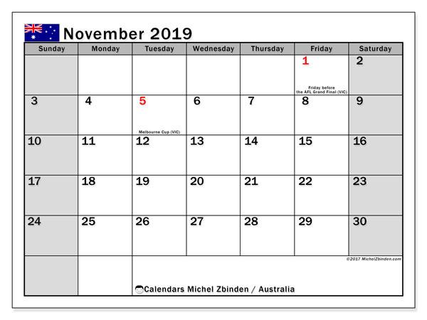 Calendar  November 2019, australia