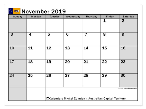 Calendar November 2019, with the holidays of Australian Capital Territory. Free bullet journal to print.