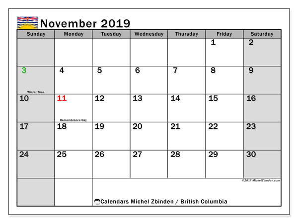 Calendar November 2019, with the holidays of British Columbia. Free printable bullet journal.