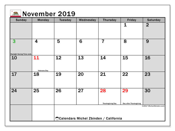 November 2019 Calendar, with the holidays of California. Free printable calendar with public holidays.