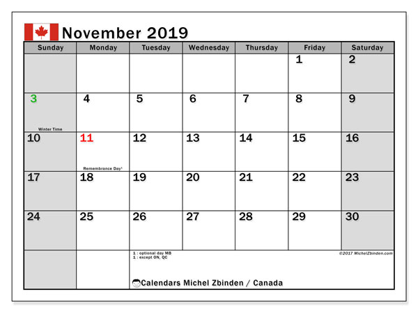 November 2019 Calendar, with the holidays of Canada. Free printable calendar with public holidays.