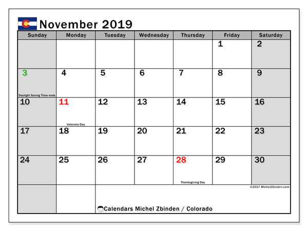 November 2019 Calendar, with the holidays of Colorado. Free printable calendar with public holidays.