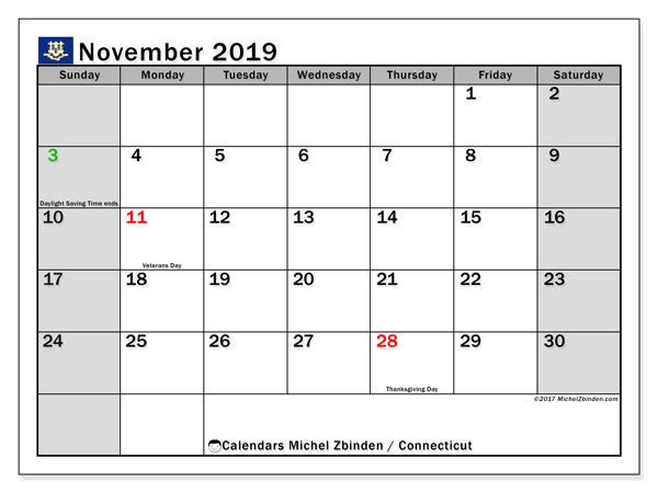 November 2019 Calendar, with the holidays of Connecticut. Free printable calendar with public holidays.