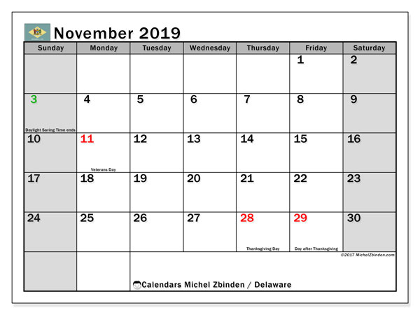 November 2019 Calendar, with the holidays of Delaware. Free printable calendar with public holidays.