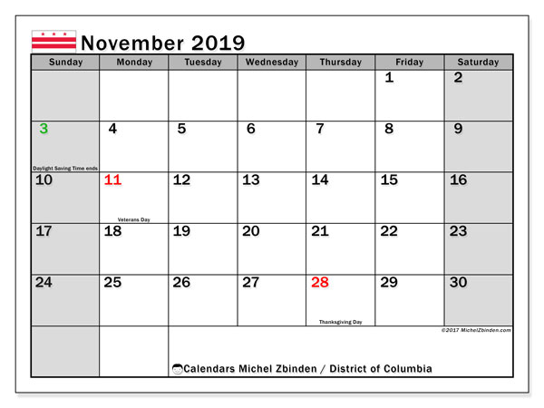 November 2019 Calendar, with the District of Columbia holidays. Holidays calendar to print free.