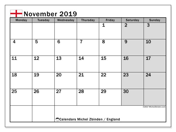 Calendar November 2019, with the holidays of England. Free printable monthly calendar.