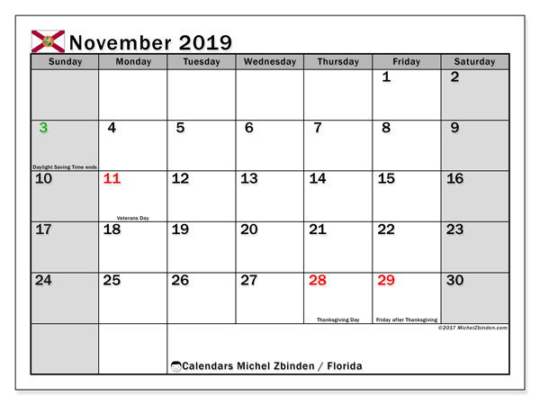 November 2019 Calendar, with the holidays of Florida. Free printable calendar with public holidays.