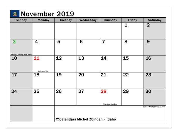November 2019 Calendar, with the holidays of Idaho. Free printable calendar with public holidays.