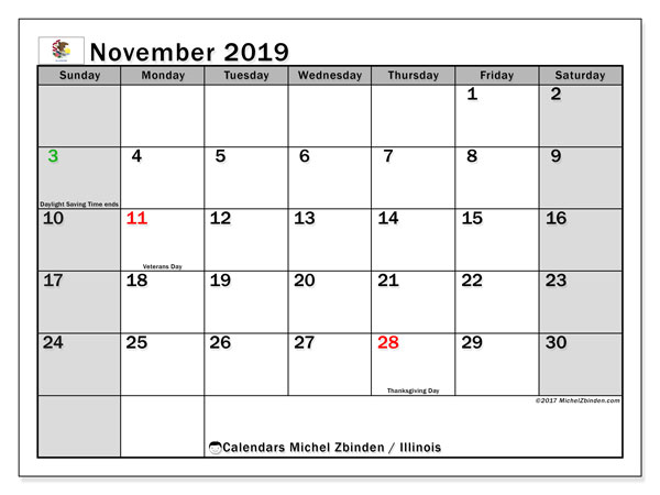 November 2019 Calendar, with the holidays of Illinois. Holidays calendar to print free.