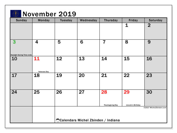 November 2019 Calendar, with the holidays of Indiana. Free printable calendar with public holidays.