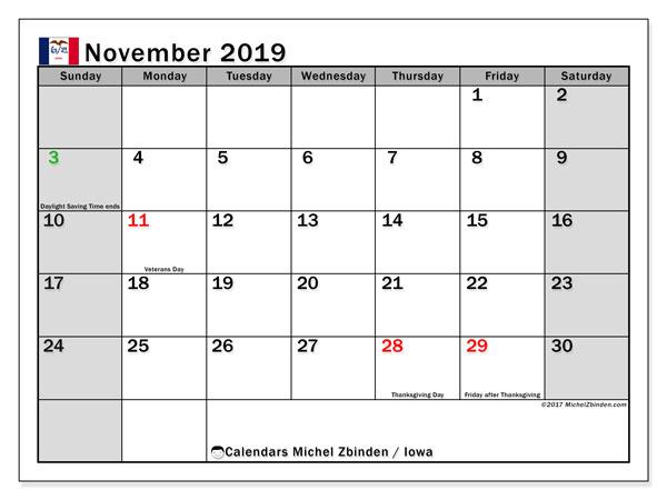 November 2019 Calendar, with the holidays of Iowa. Free printable calendar with public holidays.