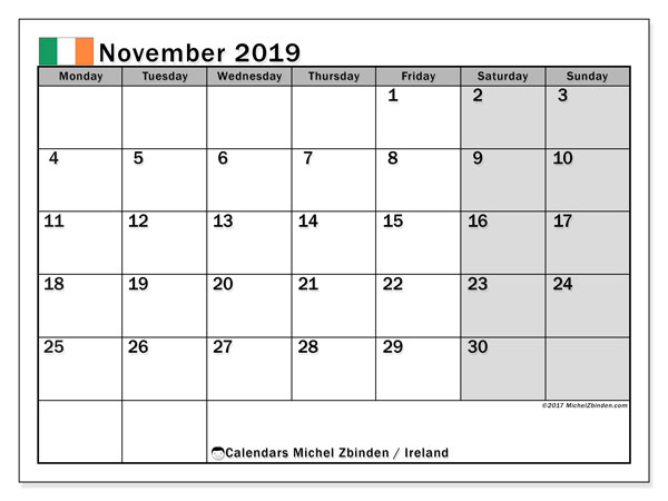 Calendar November 2019, with the holidays of Ireland. Planner to print free.