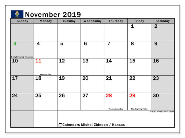 November 2019 Calendar, with the holidays of Kansas. Free printable calendar with public holidays.