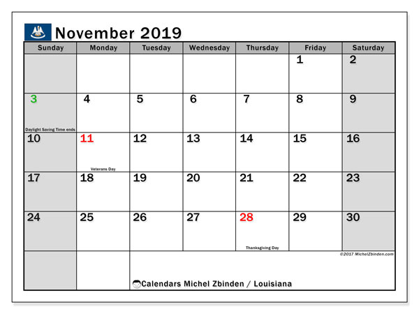 November 2019 Calendar, with the holidays of Louisiana. Free printable calendar with public holidays.