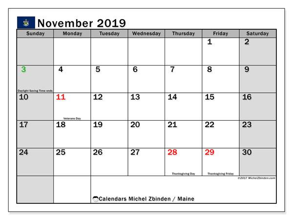 November 2019 Calendar, with the holidays of Maine. Holidays calendar to print free.