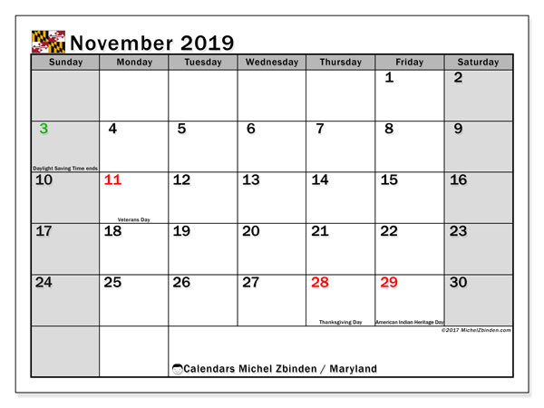 November 2019 Calendar, with the holidays of Maryland. Free printable calendar with public holidays.