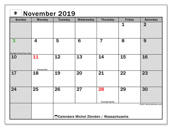 November 2019 Calendar, with the holidays of Massachusetts. Free printable calendar with public holidays.