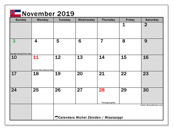 November 2019 Calendar, with the Mississippi holidays. Free printable calendar with public holidays.