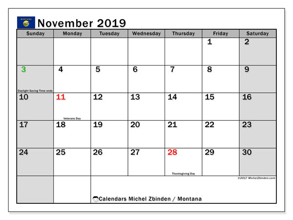 November 2019 Calendar, with the holidays of Montana. Holidays calendar to print free.