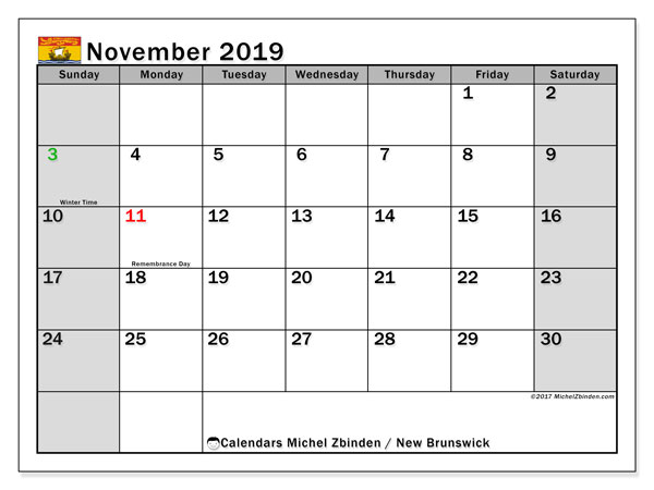 Calendar November 2019, with the holidays of New Brunswick. Monthly calendar to print free.