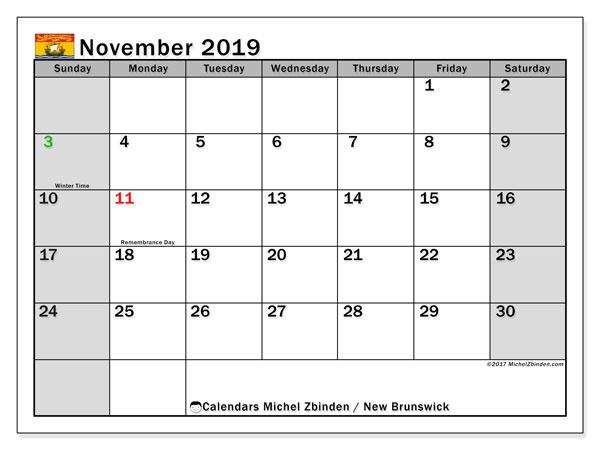 Calendar November 2019, with the holidays of New Brunswick. Calendar to print free.