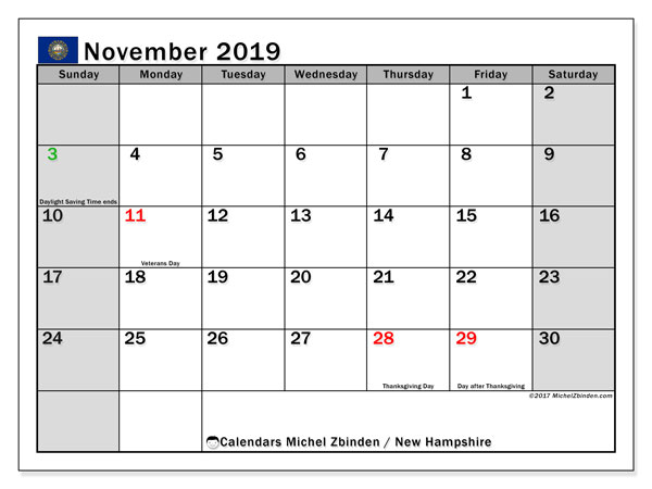 November 2019 Calendar, with the holidays of New Hampshire. Holidays calendar to print free.