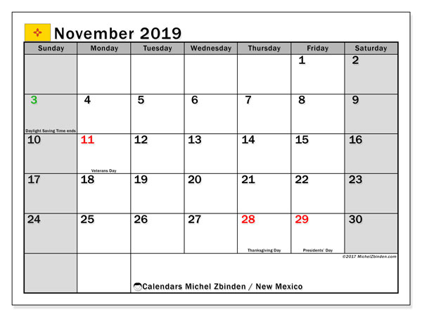 November 2019 Calendar, with the holidays of New Mexico. Holidays calendar to print free.