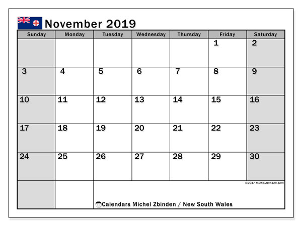 November 2019 Calendar, with the holidays of New South Wales. Holidays calendar to print free.
