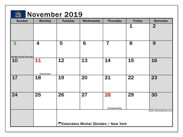 November 2019 Calendar, with the holidays of New York. Free printable calendar with public holidays.