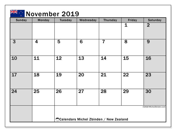 Calendar November 2019, with the holidays of New Zealand. Planner to print free.