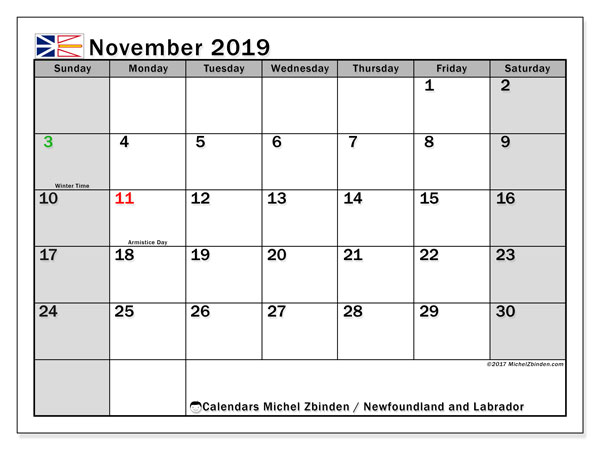 Calendar November 2019, with the holidays of Newfoundland and Labrador. Calendar to print free.