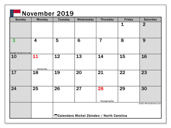 November 2019 Calendar, with the holidays of North Carolina. Free printable calendar with public holidays.