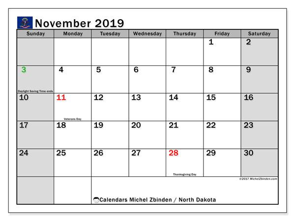 November 2019 Calendar, with the holidays of North Dakota. Free printable calendar with public holidays.