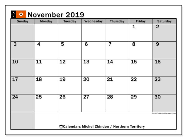 Calendar November 2019, with the holidays of Northern Territory. Bullet journal to print free.