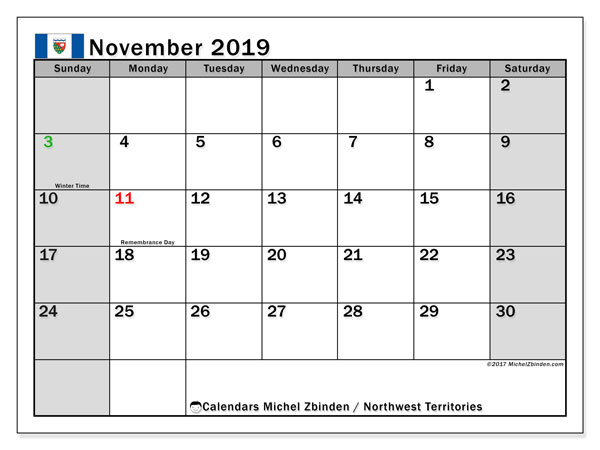 Calendar November 2019, with the holidays of Northwest Territories. Free bullet journal to print.