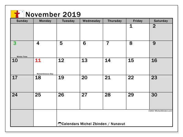 Calendar November 2019, with the holidays of Nunavut. Free calendar to print.